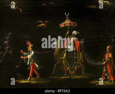 Follower of Jacques Callot (Nancy 1592 - Nancy 1635), A Sultan Riding a Camel Led by a Driver, Accompanied by a Dignitary.jpg - RFT0A3 - Stock Photo