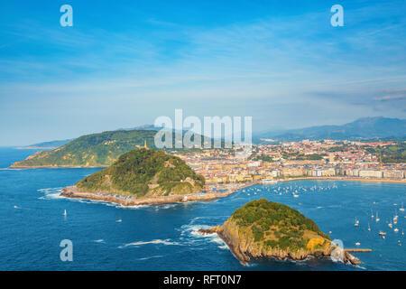 Donostia San Sebastia, panoramic view of city and bay. Euskadi (Basque Country), Northern Spain. - Stock Photo