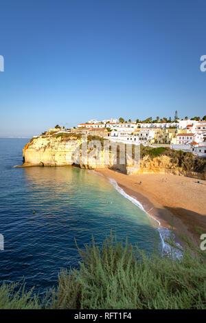 Carvoeiro, beach and ocean at sunrise. Algarve, Portugal - Stock Photo