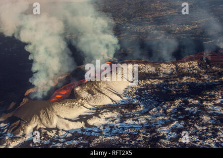 Aerial shot of the active volcano Bardarbunga in Iceland - Stock Photo