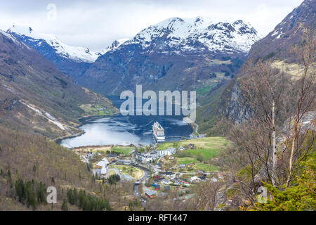 Cruise ship in fjord at Geiranger, Norway - Stock Photo
