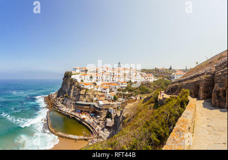 Azenhas do Mar, Portugal. Stair and view on town and natural pool. - Stock Photo