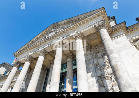 Closeup view of famous Reichstag building, seat of the German Parliament. Berlin Mitte district, Germany. - Stock Photo