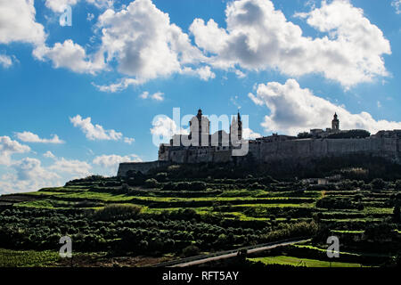 A landscape view of Mdina in Malta, known as the Silent City. - Stock Photo