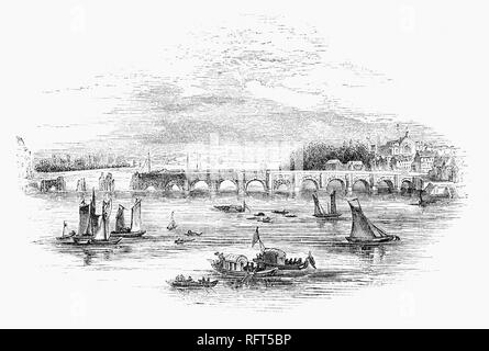 The building of Westminster Bridge, a road-and-foot-traffic bridge over the River Thames in London, linking Westminster on the west side and Lambeth on the east side.  Financed by private capital, lotteries and grants, Westminster Bridge was built between 1739–1750, under the supervision of the Swiss engineer Charles Labelye. and opened on 18 November 1750. - Stock Photo