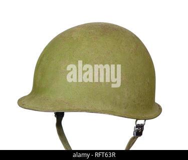 Vintage M1 army helmet isolated on white. - Stock Photo