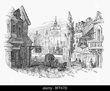An 18th Century street scene in Islington in Greater London, England, showing Old St Mary's Parish Church in Upper Street. Now part of the London Borough of Islington, it grew as a sprawling Middlesex village along the line of the Great North Road, and has provided the name of the modern borough. - Stock Photo