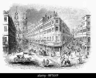 An 18th Century view of the junction of Cornhill and Lombard Street with the tower of the Royal Exchange in the distance, London, England. The Royal Exchange in London was founded in the 16th century by the merchant Thomas Gresham on the suggestion of his factor Richard Clough to act as a centre of commerce for the City of London - Stock Photo