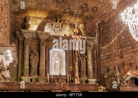 Wieliczka Salt Mine Tourist Route, Chapel of St. Kinga with carved details in Kopalnia soli Wieliczka, UNESCO World Heritage Site, Krakow, Poland - Stock Photo