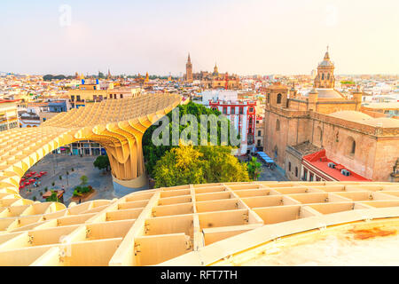 Church of the Annunciation, La Giralda and Seville skyline from Metropol Parasol, Plaza de la Encarnacion, Andalusia, Spain, Europe - Stock Photo