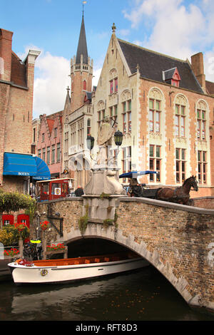 The Dijver Canal, Bruges, Flemish Region, West Flanders, Belgium, Europe - Stock Photo