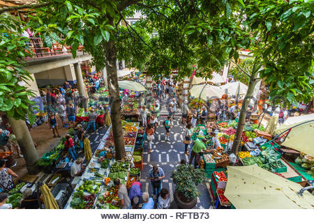 A point of view of Lavradores market in Funchal city, Madeira, Portugal, Europe - Stock Photo