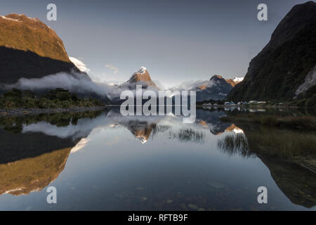 Mitre Peak, Milford Sound, Fiordland National Park, UNESCO World Heritage Site, South Island, New Zealand, Pacific - Stock Photo