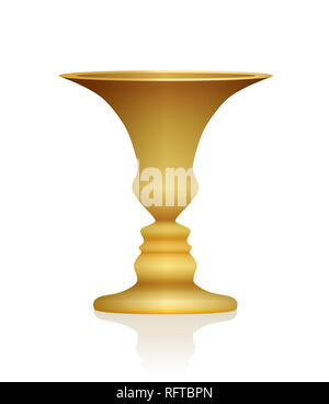 Optical illusion. Vase with two faces in profile. Golden colored three-dimensional chalice. In psychology known as identifying figure from background. - Stock Photo