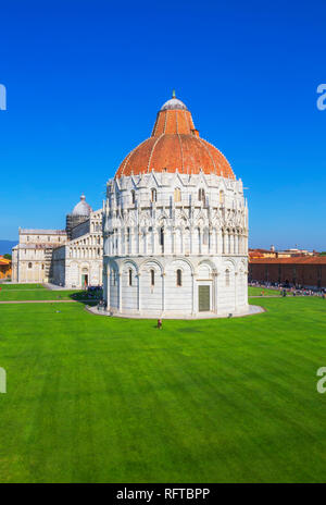 Baptistery and Cathedral view, Campo dei Miracoli, UNESCO World Heritage Site, Pisa, Tuscany, Italy, Europe - Stock Photo