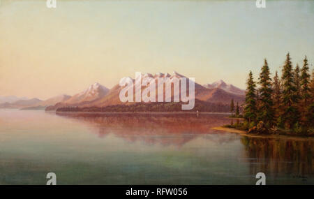 GRAFTON TYLER BROWN (1841-1918) Lake Tahoe from Lake Tahoe City (1882) - oil on canvas.jpg - RFW056 - Stock Photo