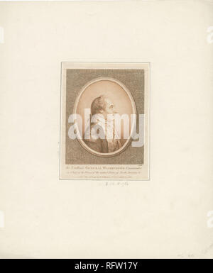 SC-84; Secondary object number RP-440; Oval image of a full bust portrait of George Washington, shown in profile facing right, wearing a military uniform, and with his hair tied back with a ribbon; After Pierre Eugene Du Simitiere, made by B. B. Ellis, and published by Robert Wilkinson. - Stock Photo