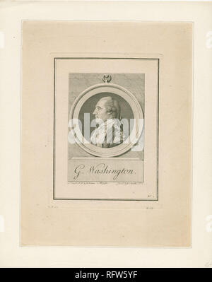 SC-81; Secondary object number RP-440; Circular image of a full bust portrait of George Washington, shown in profile facing left, wearing a military uniform, and with his hair tied back with a ribbon; After Pierre Eugene Du Simitiere and made by Benoît Louis Prévost. - Stock Photo