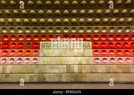 Staromestska Metro Station in Prague - Stock Photo
