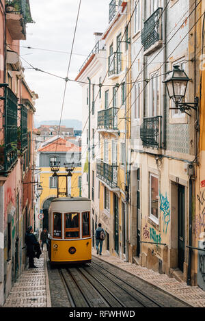 A tram on the Elevador da Bica, in Bairro Alto, Lisbon, Portugal - Stock Photo