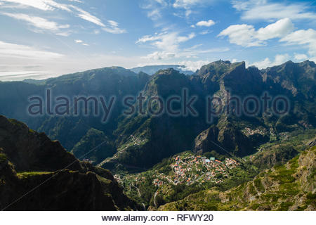A view from Miradouro do Paredao viewpoint to one of the most remote places on the island, Curral das Freiras, Madeira, Portugal, Atlantic, Europe - Stock Photo