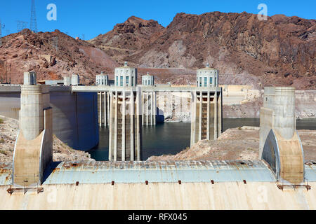 Hoover Dam hydroelectric dam on the border between Nevada and Arizona in the United States of America - Stock Photo