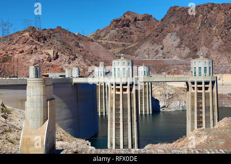Hoover Dam hydroelectric dam on the border between Nevada and Arizona in the United States of America