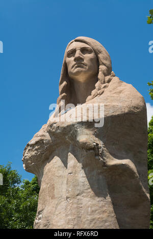 Chief Black Hawk statue in Lowden State Park on a beautiful Summer day.  Oregon, Illinois, USA