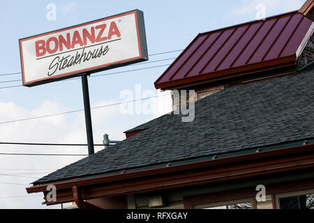 A logo sign outside of a Bonanza Steakhouse restaurant location in Chambersburg, Pennsylvania on January 25, 2019. - Stock Photo