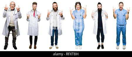 Collage of group of doctors and surgeons people over white isolated background shouting with crazy expression doing rock symbol with hands up. Music s - Stock Photo