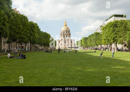 Paris, France 02 June 2018. Gardens, palace and dome forming the Esplanade des Invalides in Paris. Known as the City of Light, is one of the most awes - Stock Photo