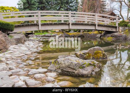 Kelowna, British Columbia/Canada - April 28, 2018: Kasugai Gardens, a popular tourist attraction, is a Japanese garden located in downtown Kelowna - Stock Photo