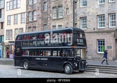 Edinburgh double decker bus for Ghost Tours around Edinburgh,Scotland,UK - Stock Photo