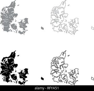 Map of Denmark icon set grey black color vector I outline flat style simple image - Stock Photo