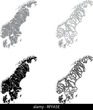 Map of Scandinavia icon set grey black color vector I outline flat style simple image - Stock Photo
