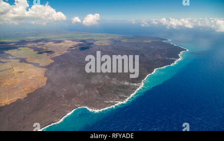 Bird view image showing the coastline of Big Island, Hawaii, at the Volcano National Park - Stock Photo
