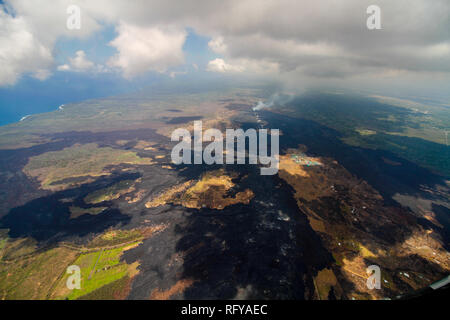 Bird view image showing Big Island, Hawaii, at the Volcano National Park after the volcano disruption of 2018 - Stock Photo
