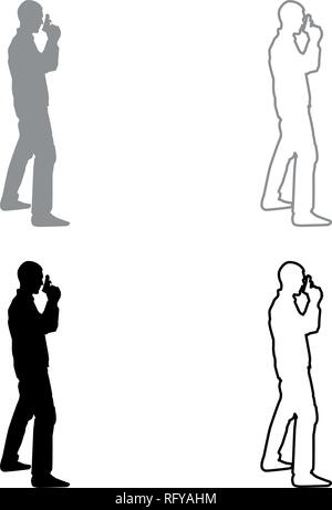 Man with gun Hazard concept icon set grey black color vector I outline flat style simple image - Stock Photo