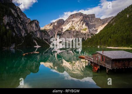 View on Lake Prags, Lake Braies, Pragser Wildsee, Lago di Braies, the mountain Seekofel in the distance - Stock Photo