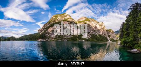 Panoramic view on Lake Prags, Lake Braies, Pragser Wildsee, Lago di Braies - Stock Photo