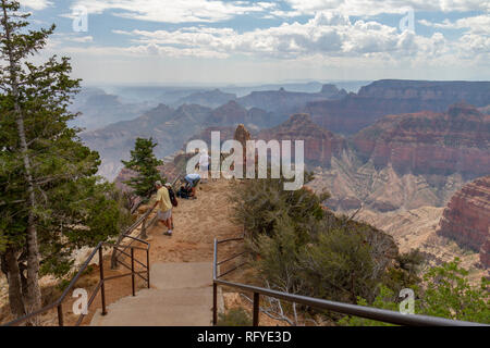 Tourists at lookout on Point Imperial, Grand Canyon North Rim, Arizona, United States. - Stock Photo