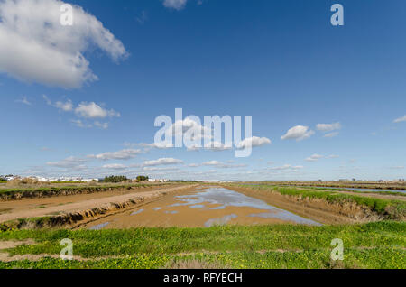 Salt pans, saltmarshes, salt evaporation pond, Tavira, Portugal, Europe. - Stock Photo