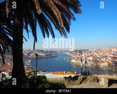 View of Douro river and Cais de Ribeira from Jardim do Morro - Porto - Portugal - Stock Photo