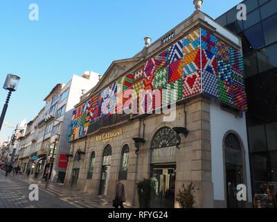 Tiles decorated Facade of Via Catarina shopping in Porto - Portugal - Stock Photo