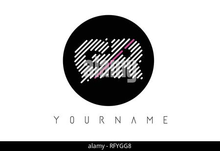 GR Letter Logo Design with White Lines and Black Circle Vector Illustration - Stock Photo