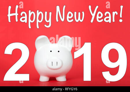 Happy Chinese New Year, the year of the pig. Piggy bank for zero in the text 2019. - Stock Photo
