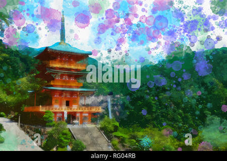 Japanese Style Watercolor View From A temple.jpg - RG04RB - Stock Photo