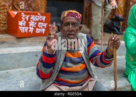 Kullu, Himachal Pradesh, India - August 04, 2018 : Old Man in Great Himalayan National Park, Sainj Valley - Stock Photo