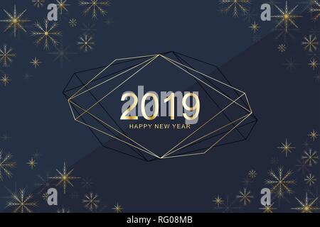 Merry Christmas and Happy New Year 2019 greeting card with golden snowflakes. Happy new year 2019. Holiday greeting card vector template for posters - Stock Photo