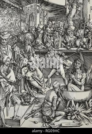 St. John Evangelist being tortured in a vat of boiling oil. Apocalypse. Woodcut by Albrecht Durer. 1498. - Stock Photo